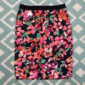 Ann Taylor sz 4 Pencil Skirt Navy Pink Orange